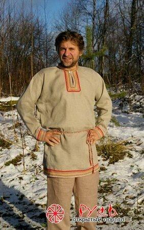 Выкройка и пошив славянской повседневной рубахи.